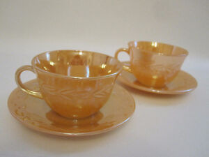 Vintage Fire King Peach et Milk Glass bols tasses et soucoupes