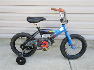 "Boys bike Spiderman 14"" wheels + training wheels"