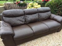 Brown Leather Sofas. £280