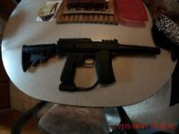 full auto paintball gun and compresed airtank