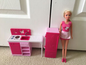 Barbie Kitchen and Barbie Doll Playset