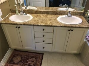 Bathroom Counter top with Double sinks, two Faucets, two drains
