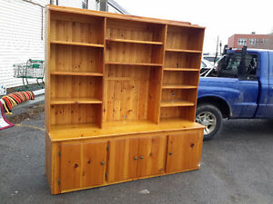LARGE PINE SHELVING  UNIT 2 PIECES WITH LOWER STORAGE $90.00