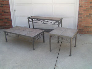 SOLID ROD IRON COFFEE, END AND SOFA TABLE