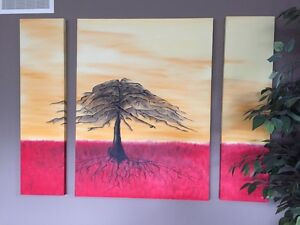 """3 Panel """"Tree on the Plains"""" Original Painting London Ontario image 1"""
