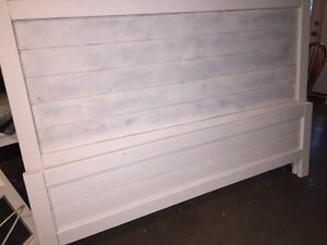 King distressed white headboard