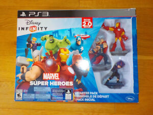PS3 with Infinity Marvel Super Heroes and NHL +Mindcraft Games