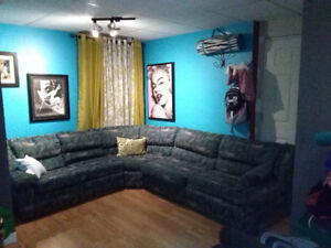 Sectional Couch with recliner and queen fold out bed