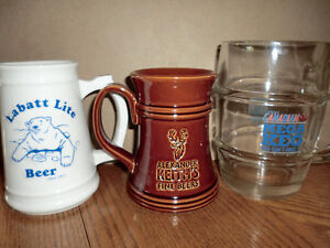 Three beer mugs $3.00.