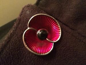 Brand New Metal Poppy Flower Brooch or Poppy Pin