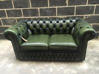 Green Leather 2 Seater Chesterfield Sofa - Others Avail - UK Delivery