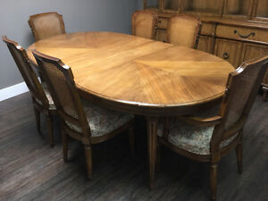 Solid Walnut Dining Table with 8 Chairs