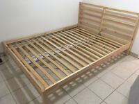 QUEEN-SIZED BED SET - FRAME, SLATS, 2 NIGHT STANDS