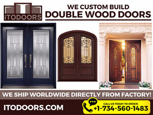 Custom Made Exterior Front Entry Glass Doors. Single and Double