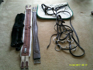 Assortment of Horse Blankets, English tack, etc.