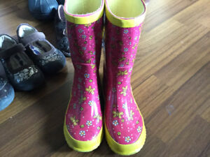 Girls Pink and Yellow Rain Boots Size 12 $10
