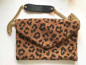"J CREW Leopard SUEDE ""Invitation"" Envelope CLUTCH/CROSSBODY London Ontario image 4"