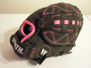 "Worth Storm FPEX Black & Pink Leather 11"" Girl's Fastpitch Glove"