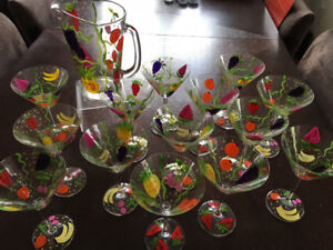 Hand Painted Glassware - 15pc