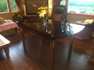 Black extendable glass top table