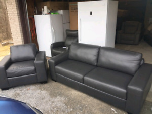 Canadian Made Leather Sofa & Chair