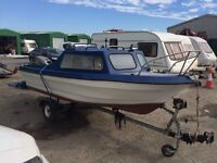 15ft cabin boat, 40HP Mariner and Trailer
