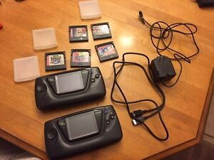 Two Sega game gears and games