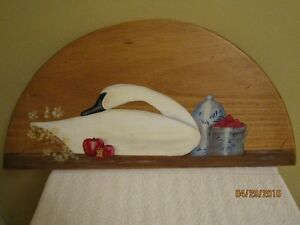 Swan painted on wood Plaque