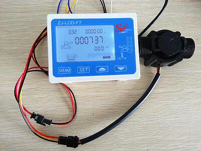 Hall Effect G12 Water Flow Countersensor With Digital Lcd Meter Gauge 10-24v