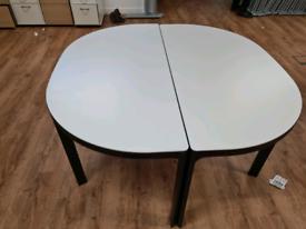 Single Spacious White Desk Semi Circle