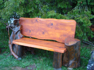 driftwood bench and carved benches