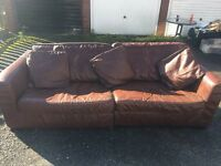 Next 3 seater leather sofa with 3 leather cushions