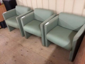 3 Green Lounge Chairs