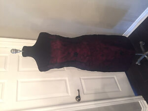 Size 12-ish black organza over burgundy dress