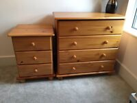 Solid pine chest of drawers plus bedside table £60