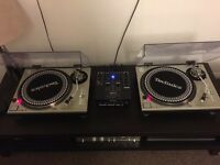 Pair of Technics SL 1200 MK2 with Denon DN-X120 mixer