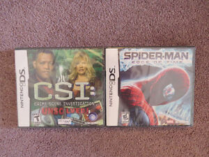 2 Sealed DS Games: CSI: Unsolved ; Spiderman - Edge of Time