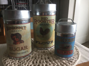 Set of Farmhouse Style Tin Canisters!