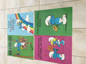 Four Vintage (1981) SMURFS Posters
