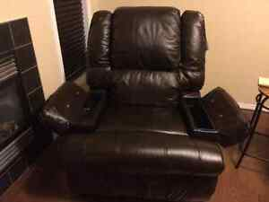 New Genuine Chocolate Leather Massage Recliner chairs