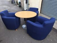 3 office tub chairs and table