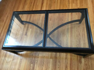 Glass coffee table and 2 glass end tables