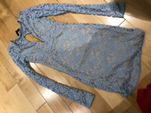 Baby Blue and Nude Lace Dress