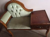 Retro vintage telephone table seat drawer