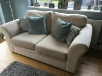 Next Cream Fabric 2 seat Sofa & Armchair