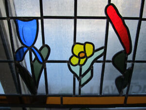 """Antique leaded stained glass art 32"""" x 16"""""""