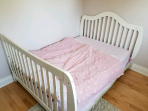 Double bed frame and mattress.