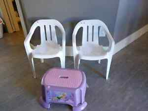 Kids chairs and Tinker Bell step stool