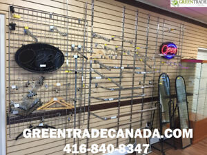 FACE OUTS, U-BARS, HOOKS, ACCESSORIES FOR GRID, or SLAT WALLS