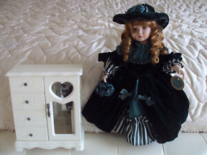 Porcelain Doll and Accessories